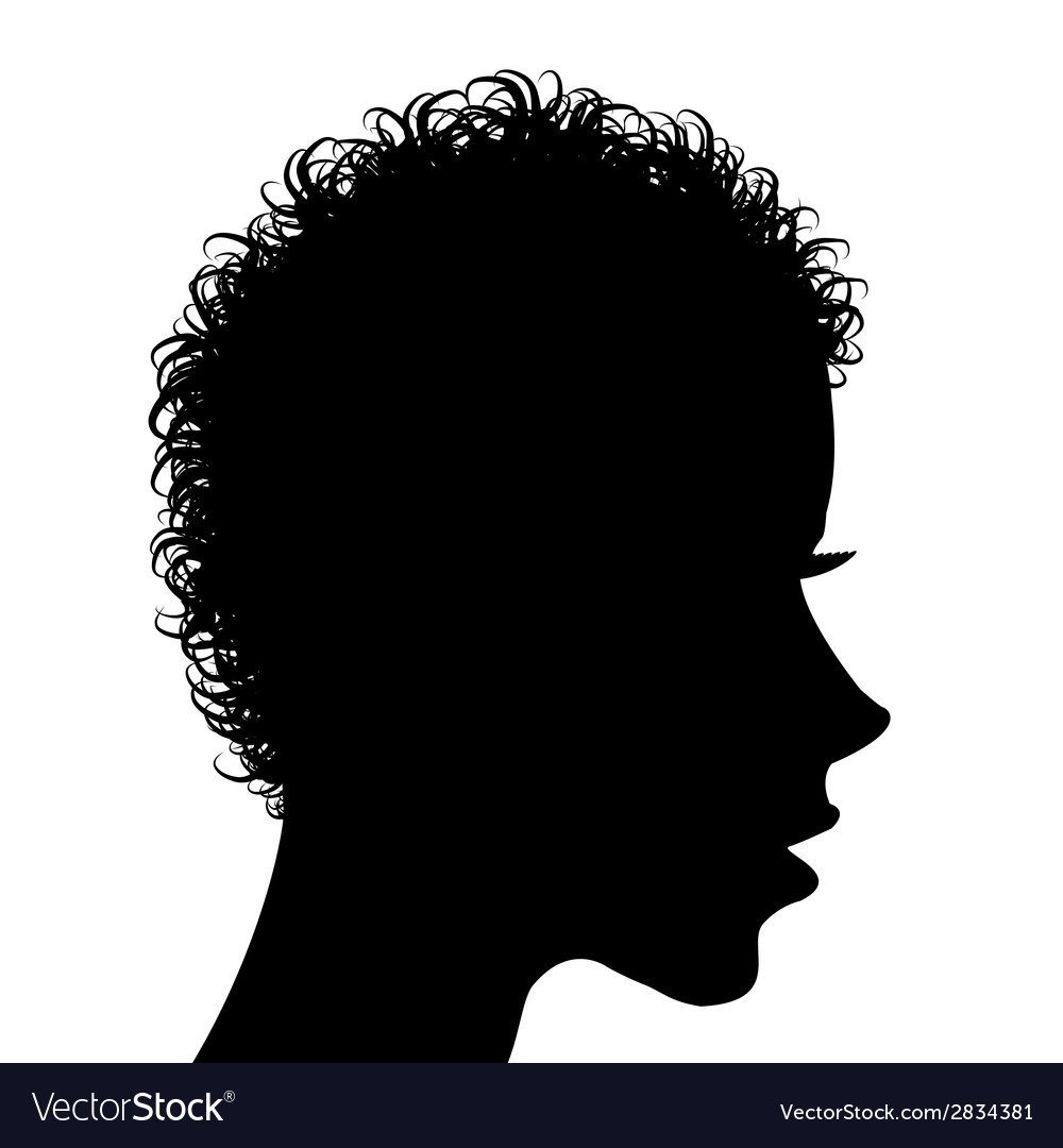 Profile of a woman with curly hair vector | Price: 1 Credit (USD $1)