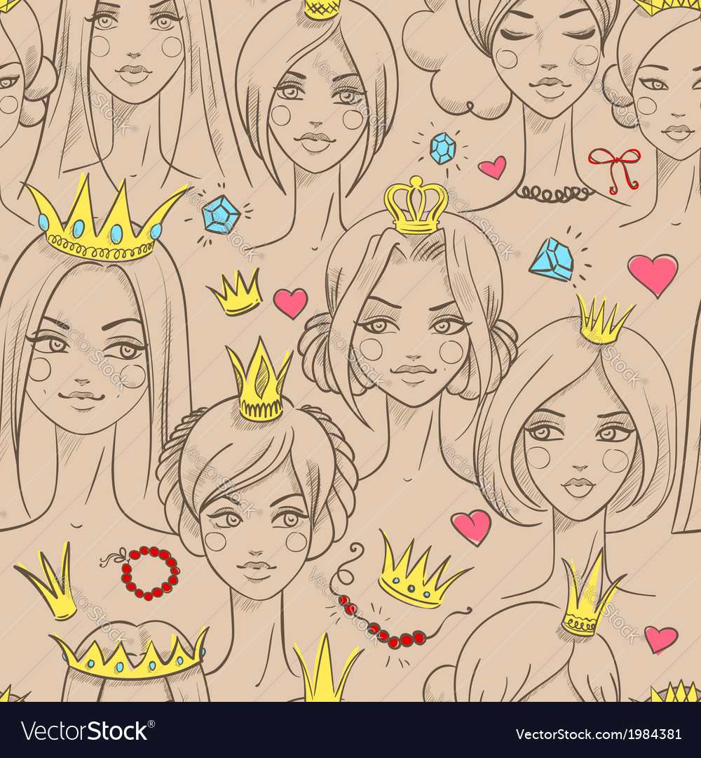 Seamless pattern with beautiful princesses vector | Price: 1 Credit (USD $1)