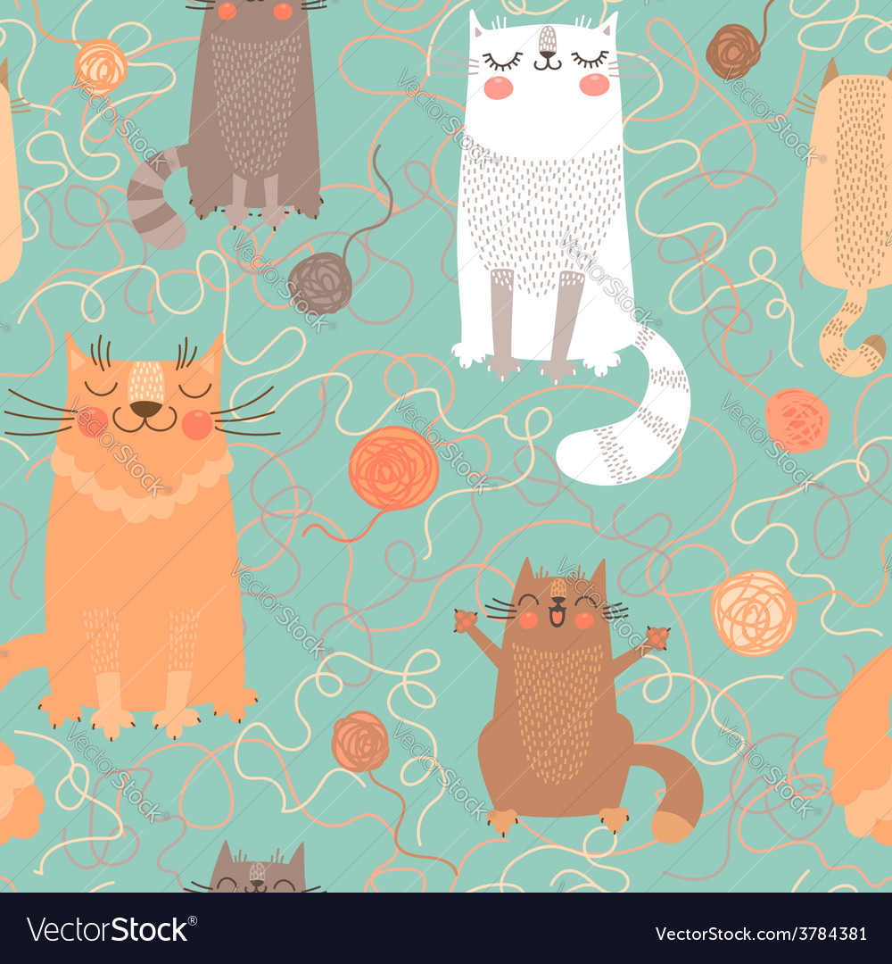 Seamless pattern with cute cats and balls of yarn vector | Price: 1 Credit (USD $1)