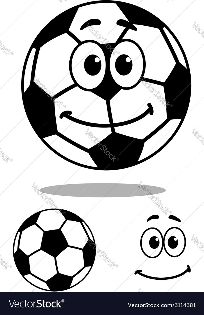 Smiling and white cartoon football character vector | Price: 1 Credit (USD $1)