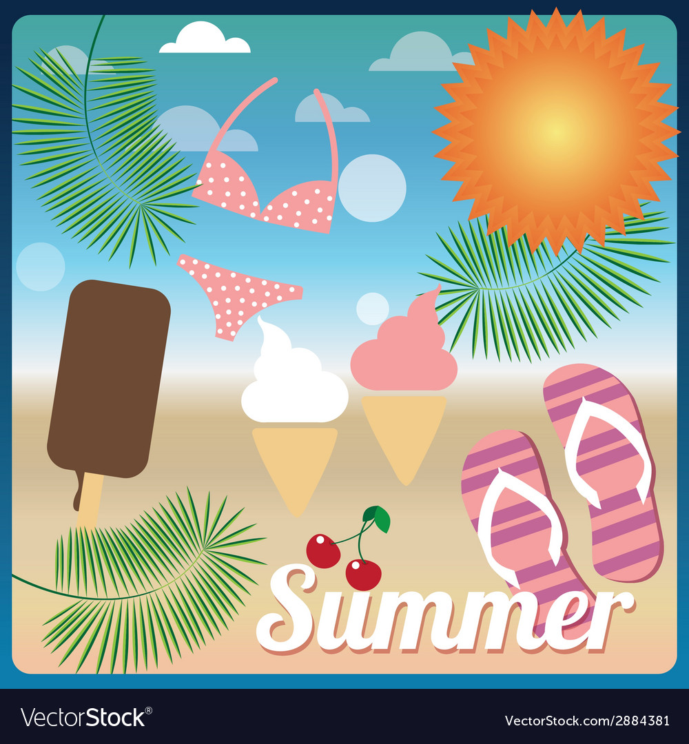 Summer holiday card vector | Price: 1 Credit (USD $1)