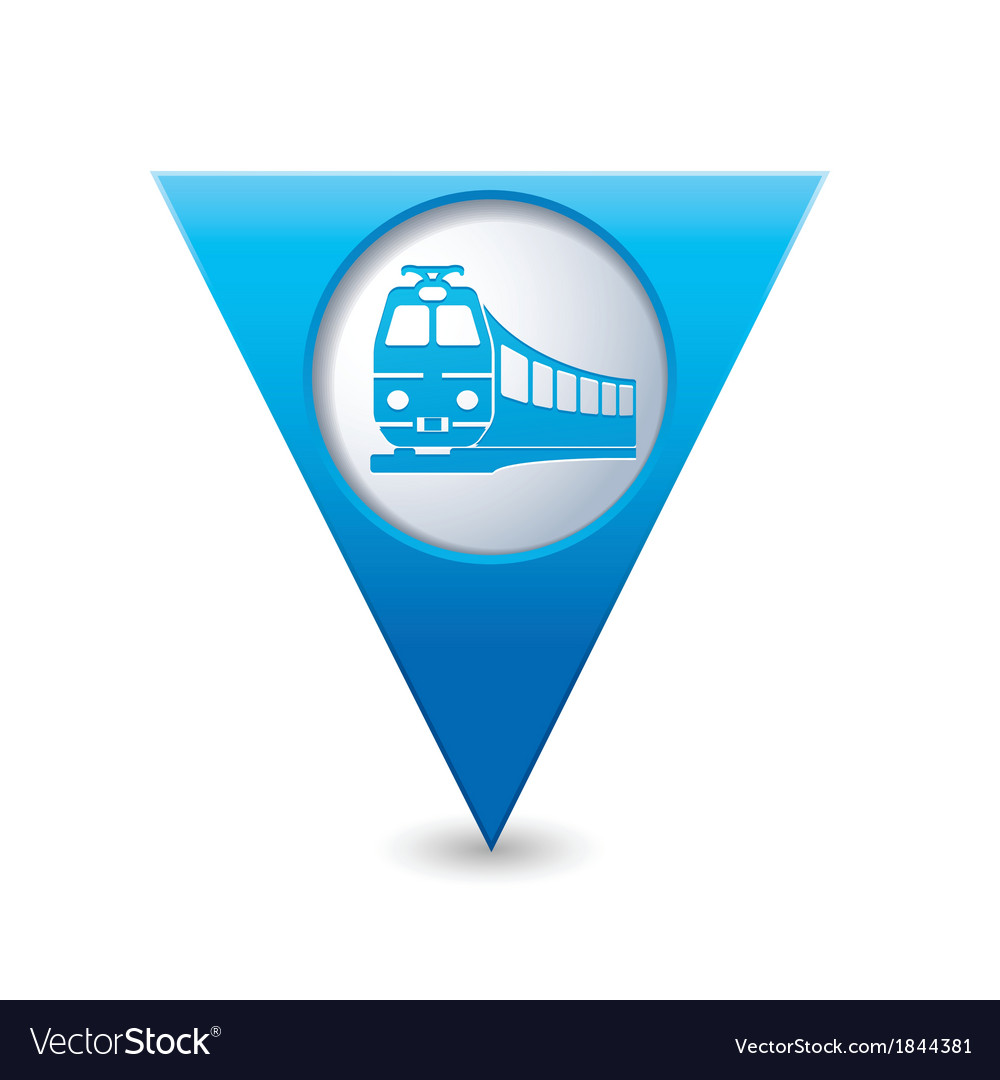 Train icon on map pointer blue vector | Price: 1 Credit (USD $1)