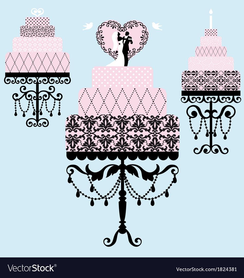 Wedding and birthday cakes vector | Price: 1 Credit (USD $1)