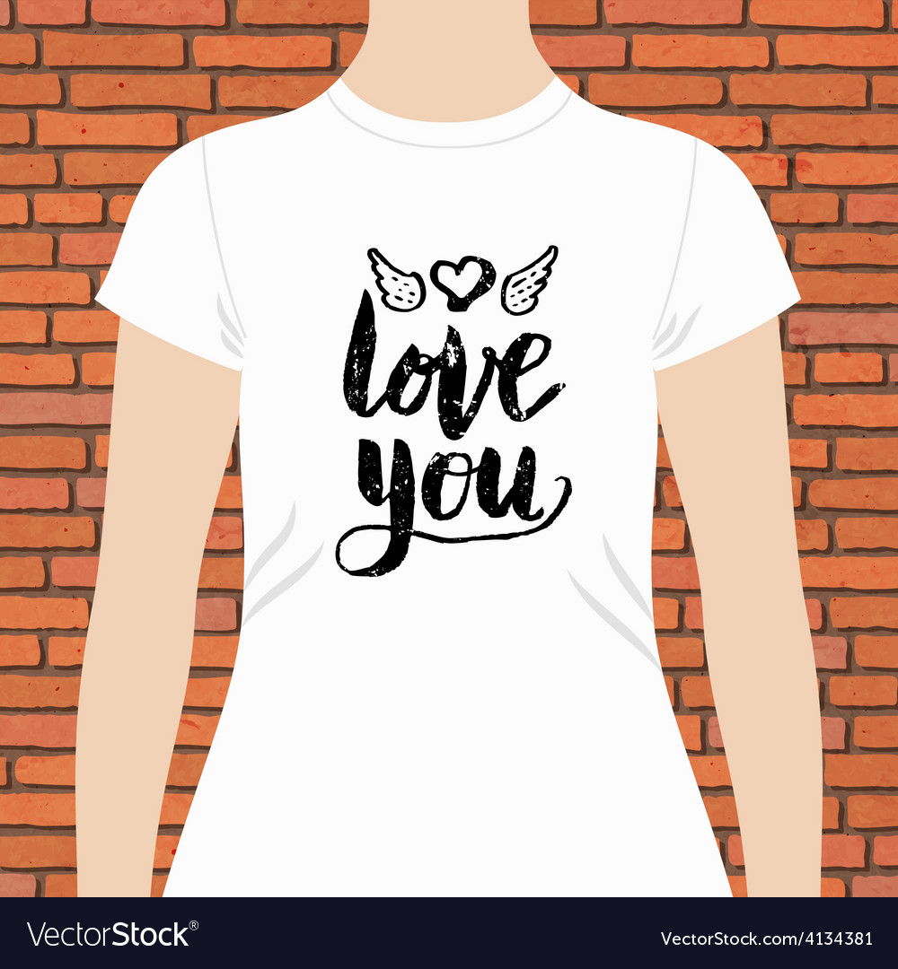 White shirt with love you text and winged heart vector | Price: 1 Credit (USD $1)