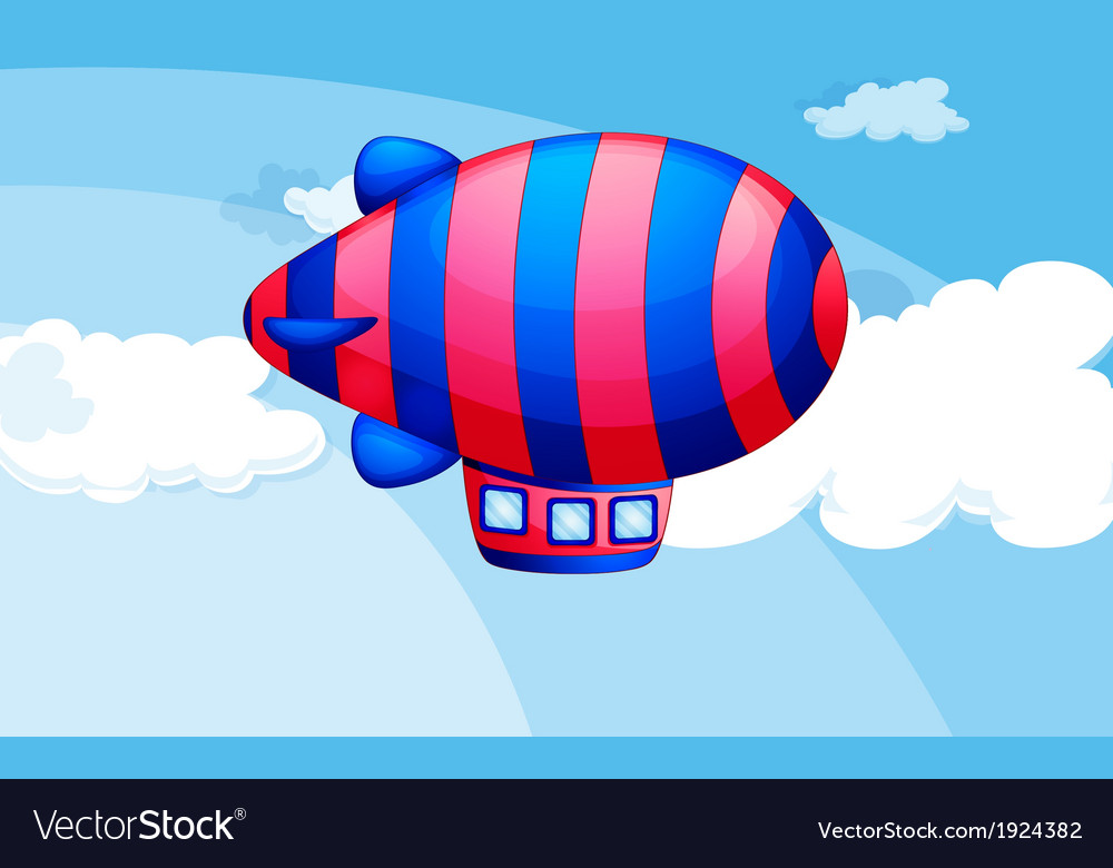 A stripe-colored airship in the sky vector | Price: 1 Credit (USD $1)
