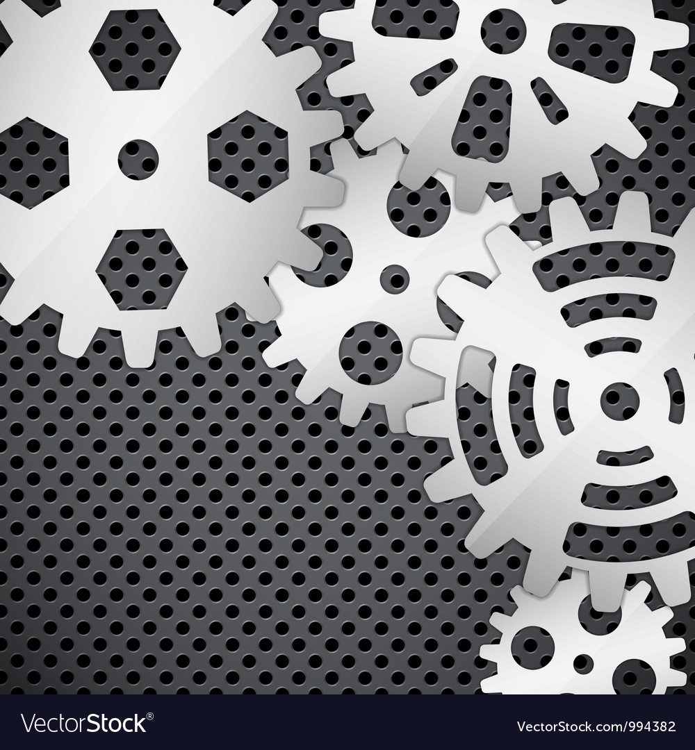 Abstract background with gears on circular grid vector | Price: 1 Credit (USD $1)