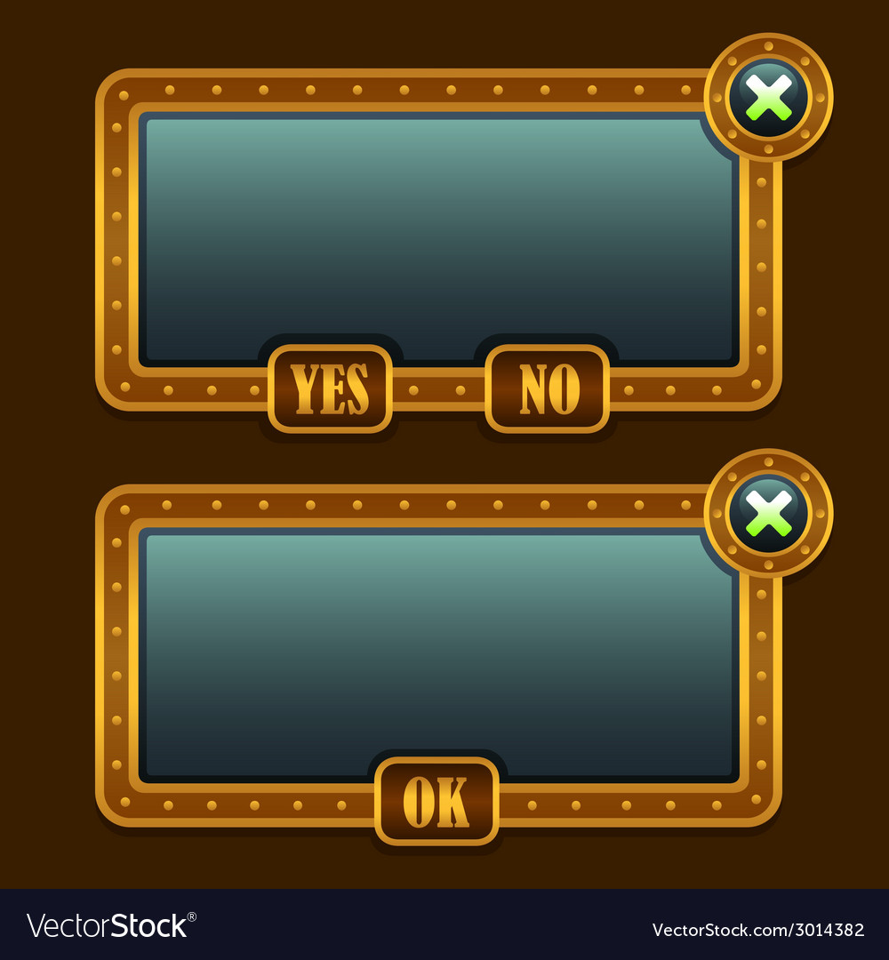 Game steampunk menu interface panels vector | Price: 1 Credit (USD $1)