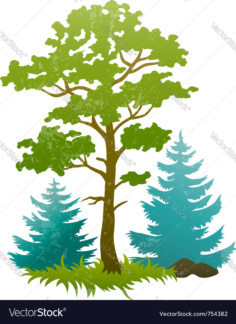 Grunge silhouettes of forest vector | Price: 1 Credit (USD $1)