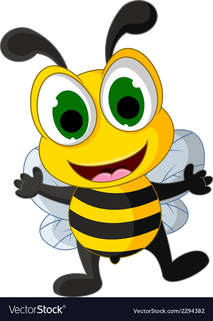 Happy little bee cartoon vector | Price: 1 Credit (USD $1)