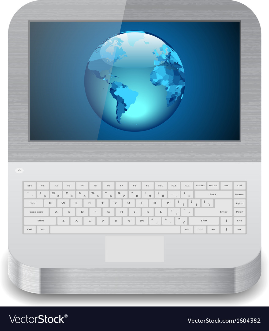 Laptop with earth on display vector | Price: 1 Credit (USD $1)