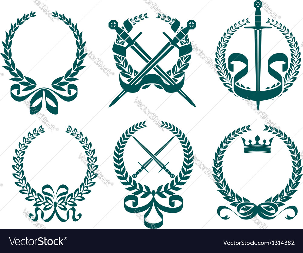 Laurel wreathes with heraldry elements vector | Price: 1 Credit (USD $1)