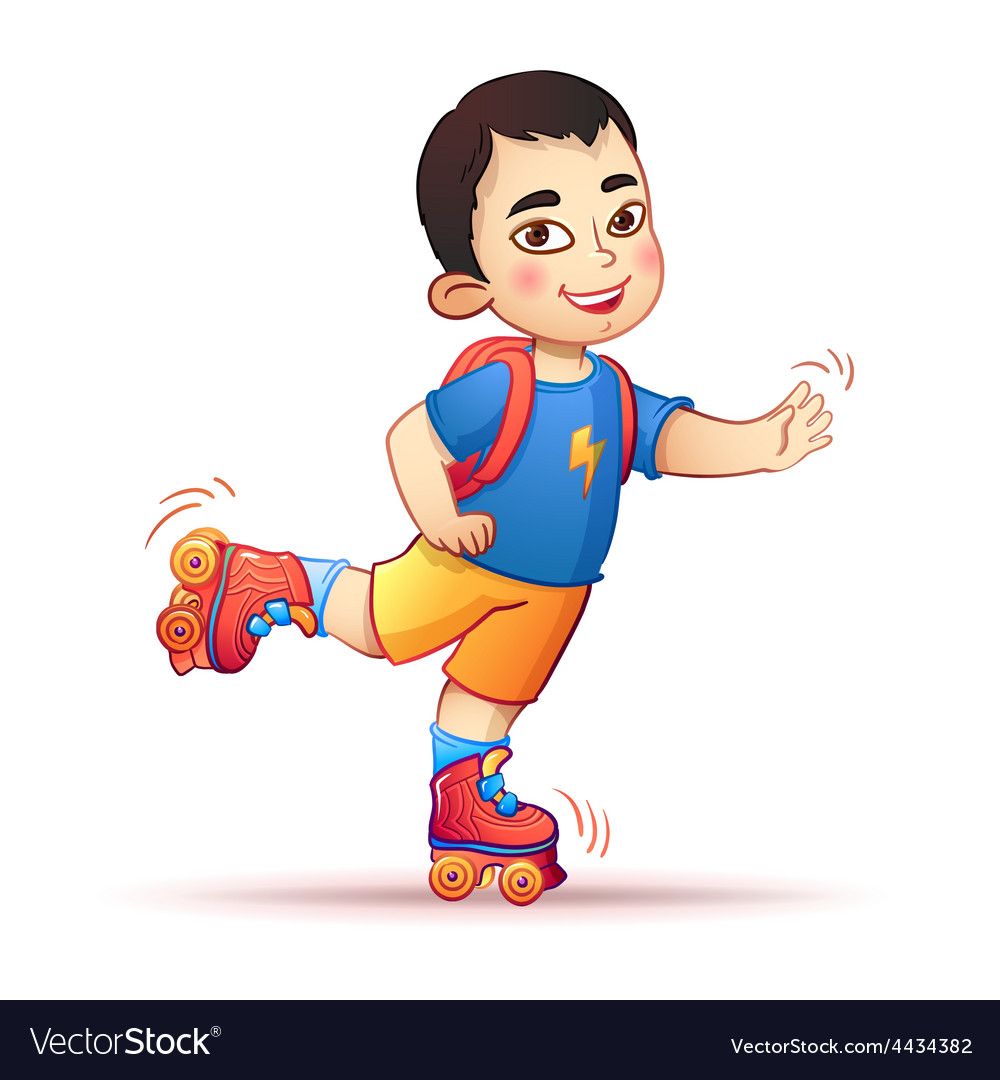 Little asian boy riding on roller skates happy vector   Price: 1 Credit (USD $1)