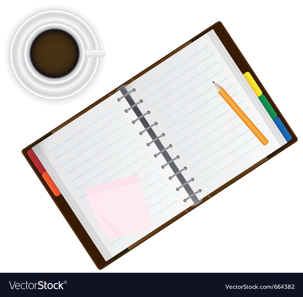 Organizer and coffee vector | Price: 1 Credit (USD $1)