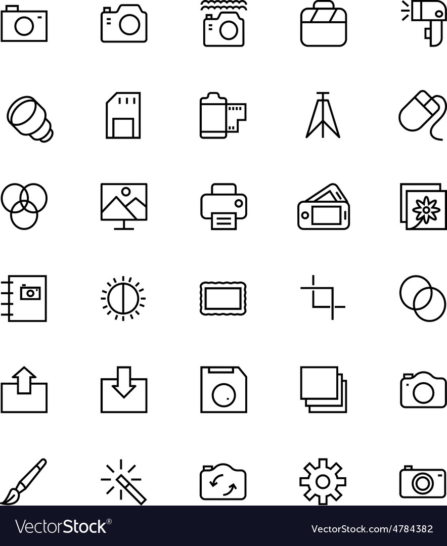 Photography line icons 1 vector | Price: 1 Credit (USD $1)
