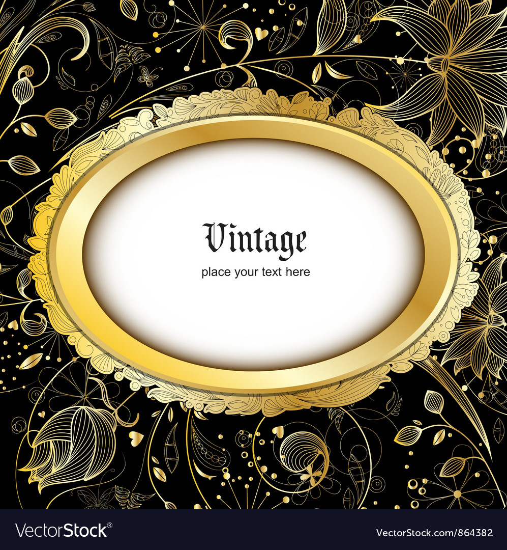 Vintage gold floral background vector | Price: 1 Credit (USD $1)