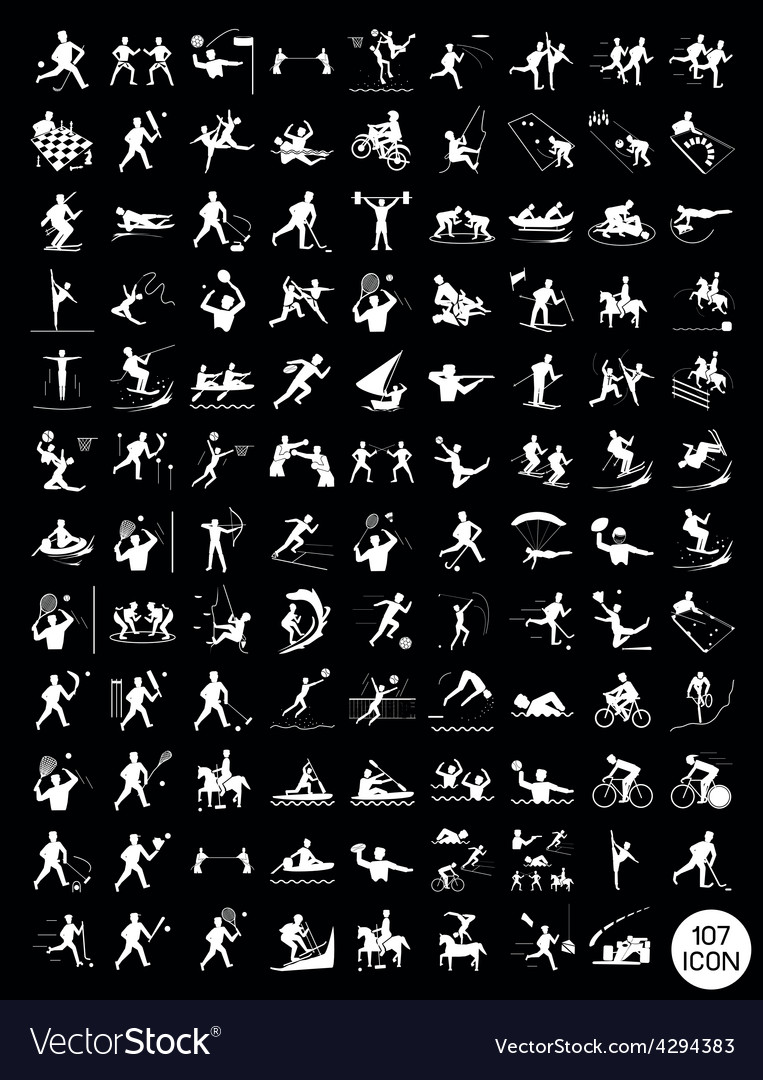 A set of black and gray sport icons vector