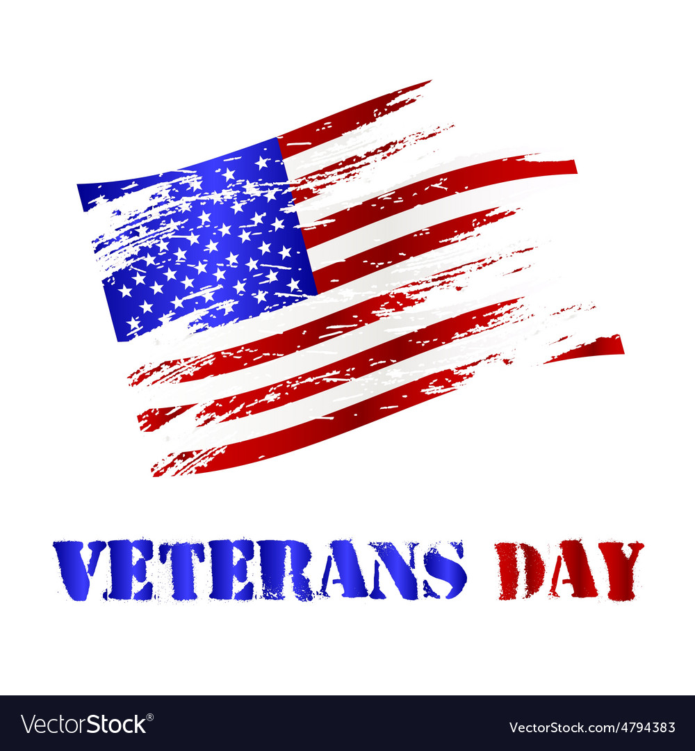 American damaged flag and veterans day celebration vector   Price: 1 Credit (USD $1)