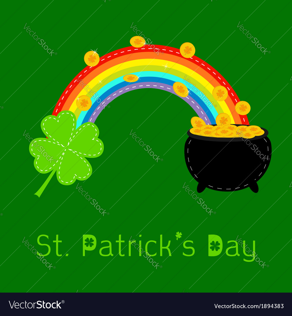Clover rainbow and pot with coins st patricks day vector | Price: 1 Credit (USD $1)