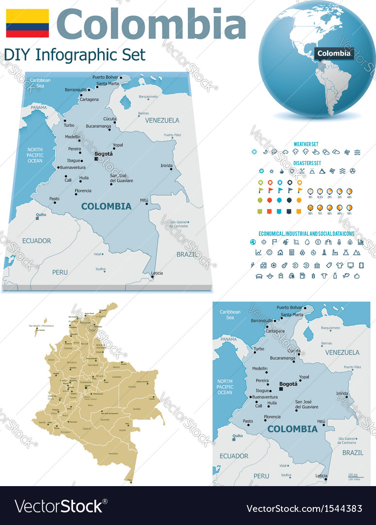 Colombia maps with markers vector | Price: 3 Credit (USD $3)