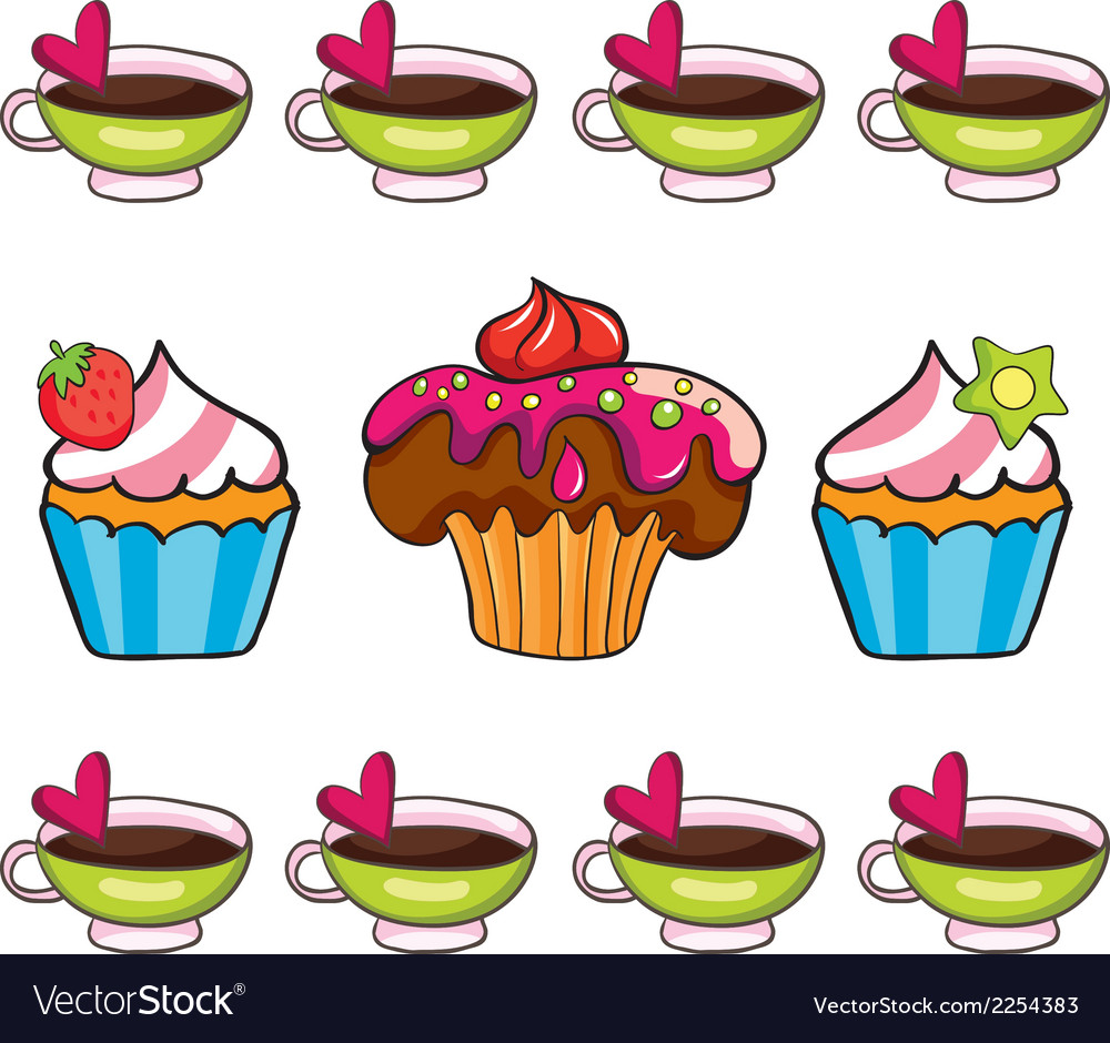 Cupcake set on white background vector | Price: 1 Credit (USD $1)