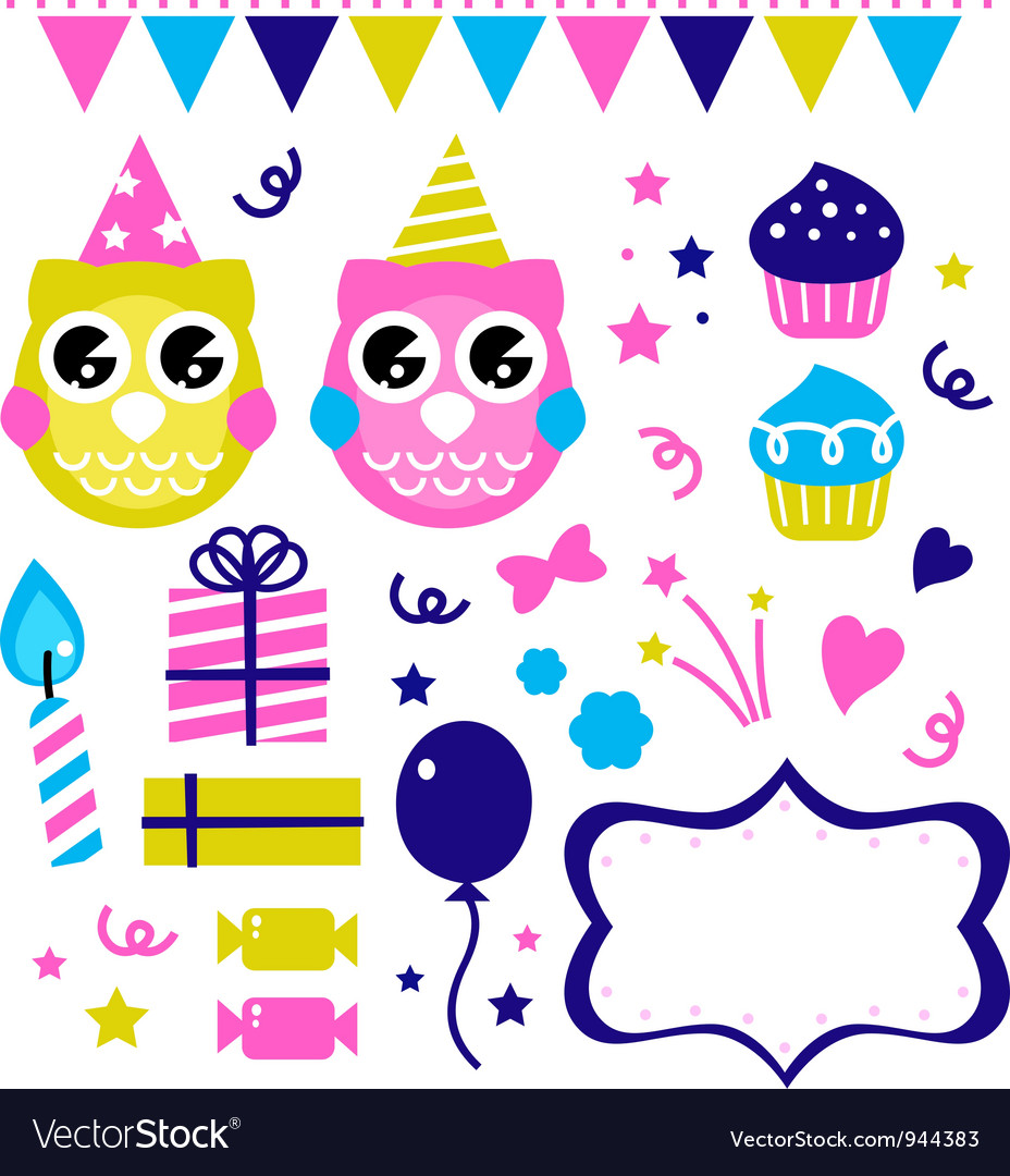 Cute party elements vector | Price: 1 Credit (USD $1)