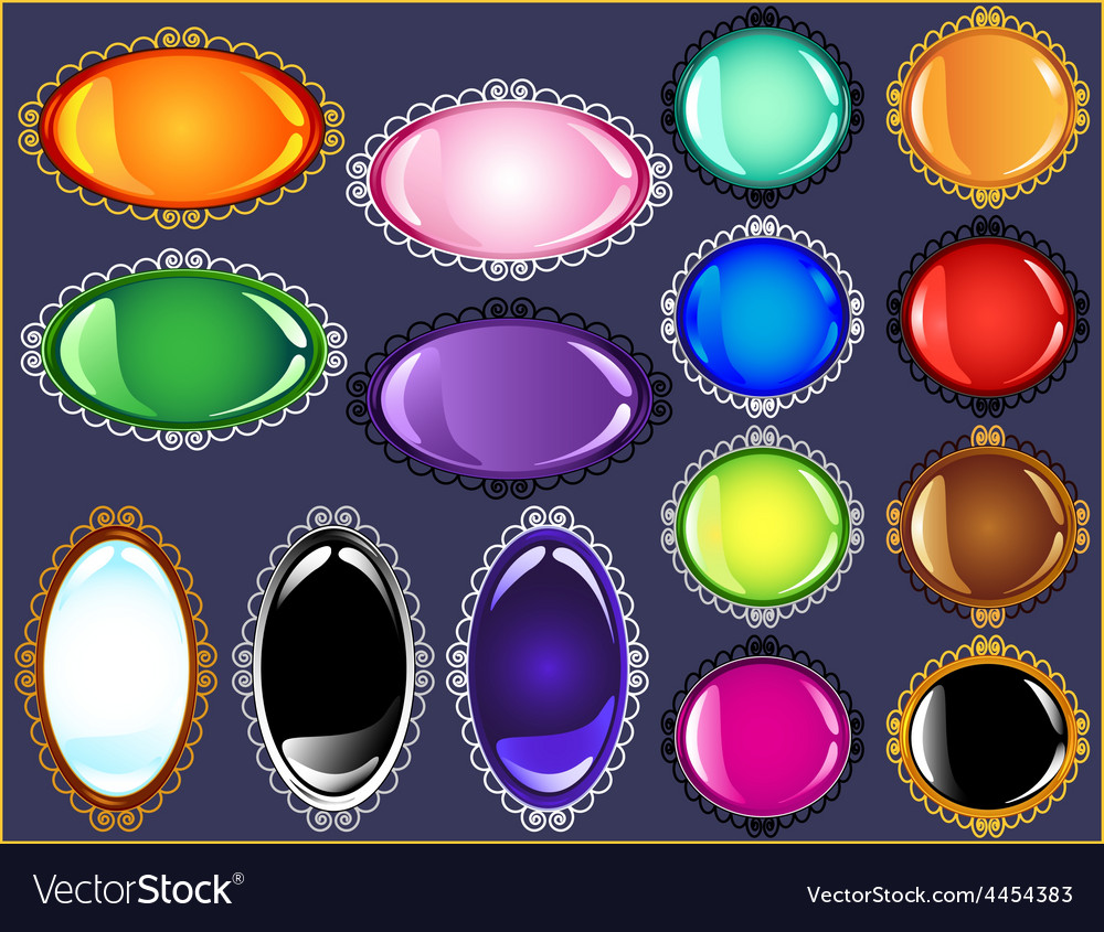 Glossy antique frame gem button collection vector | Price: 1 Credit (USD $1)