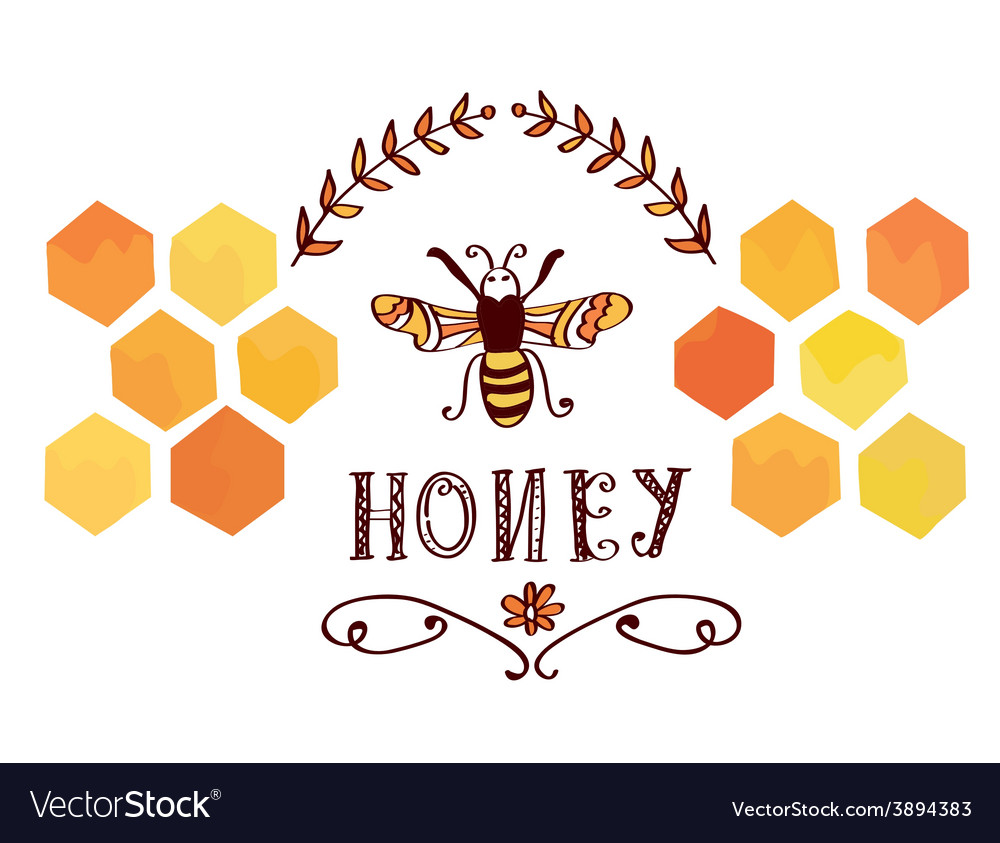 Honey label with bee and cells - funny design vector | Price: 1 Credit (USD $1)