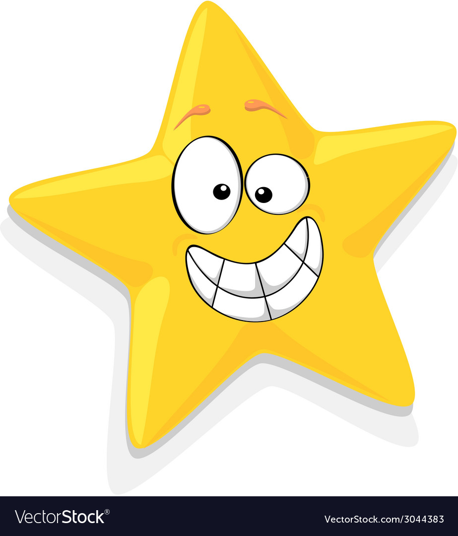 Of happy yellow star cartoon characte vector | Price: 1 Credit (USD $1)