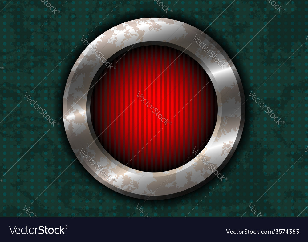 Rusty metal circle with red lamp vector | Price: 1 Credit (USD $1)