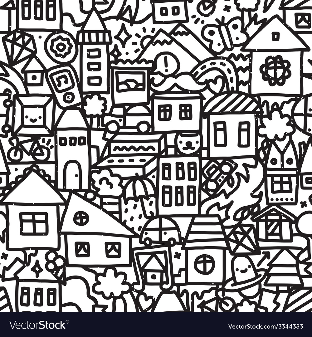 Seamless doodle city pattern vector | Price: 1 Credit (USD $1)