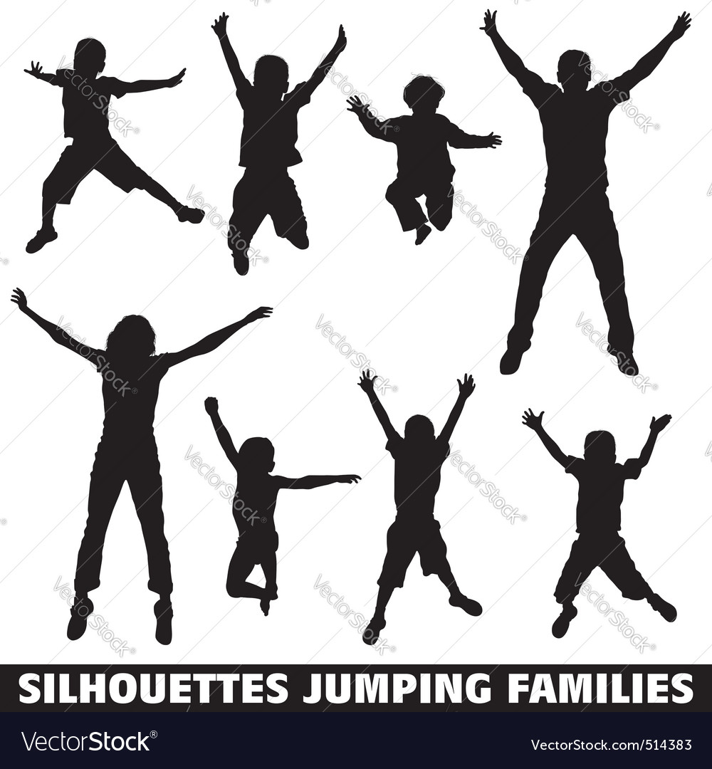 Silhouette happy jumping family vector | Price: 1 Credit (USD $1)