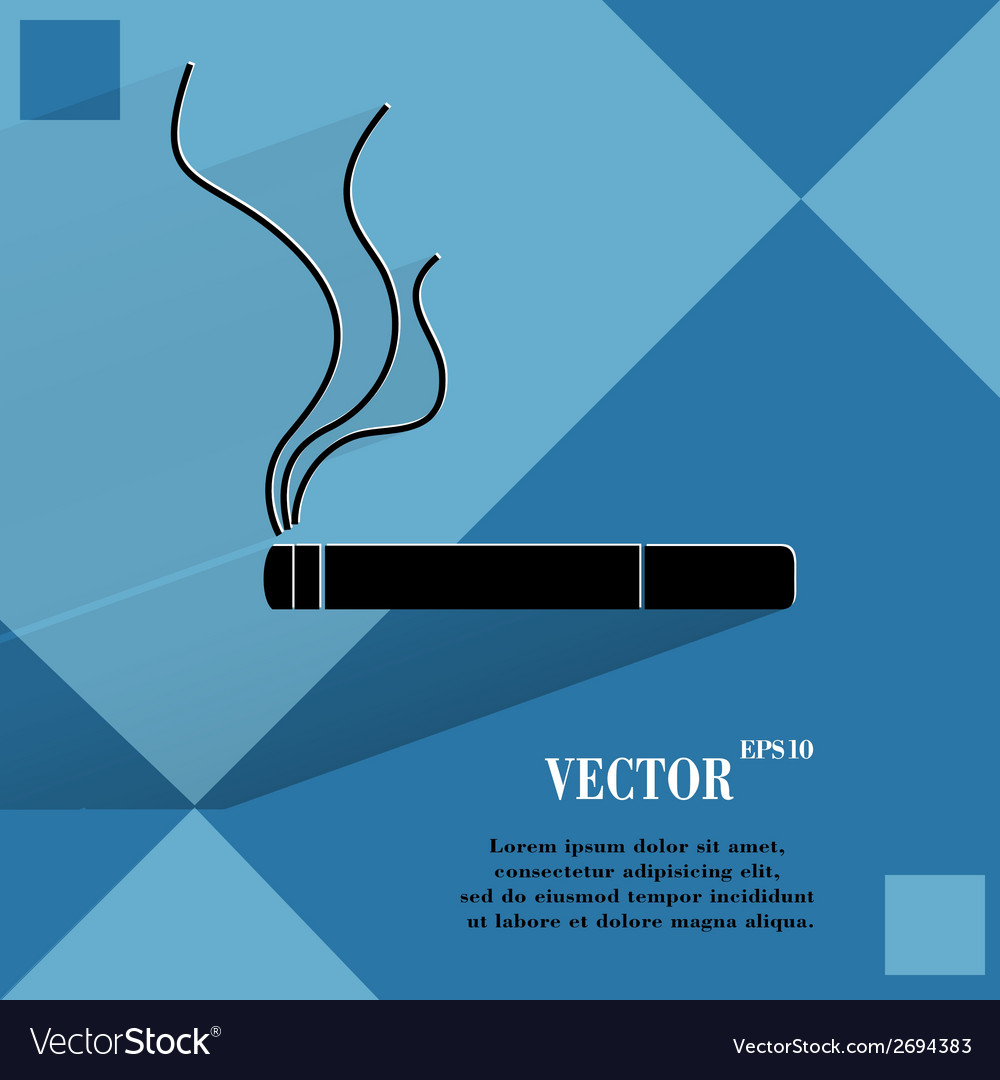 Smoking sign cigarette flat modern web button on a vector   Price: 1 Credit (USD $1)