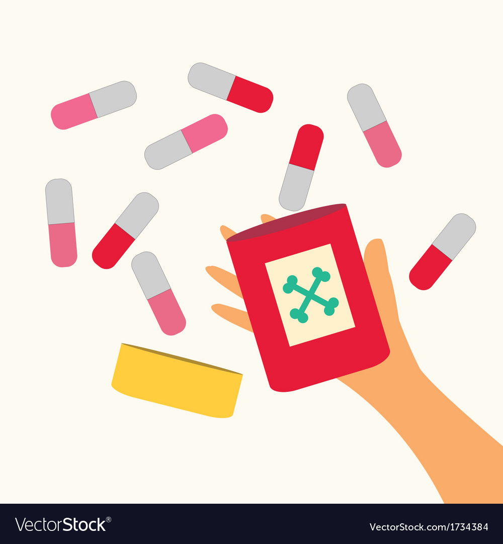A hand holding pills vector | Price: 1 Credit (USD $1)