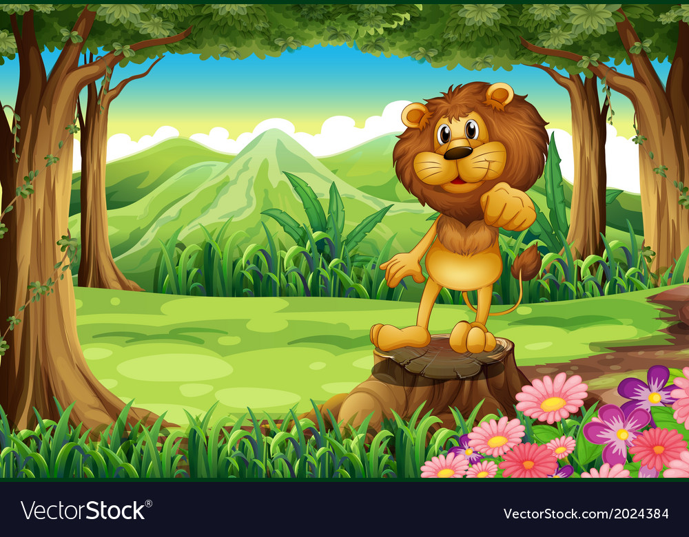 A king lion above the stump at the forest vector | Price: 3 Credit (USD $3)