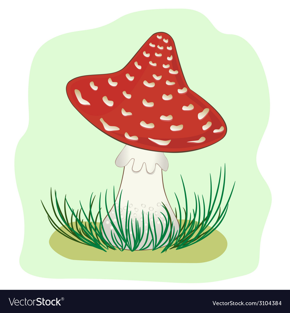 Amanita in grass vector | Price: 1 Credit (USD $1)