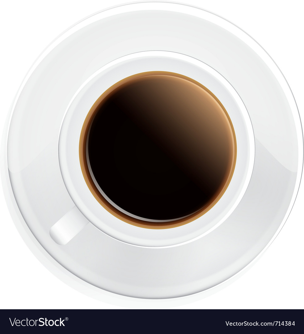 Black coffee on saucer vector | Price: 3 Credit (USD $3)