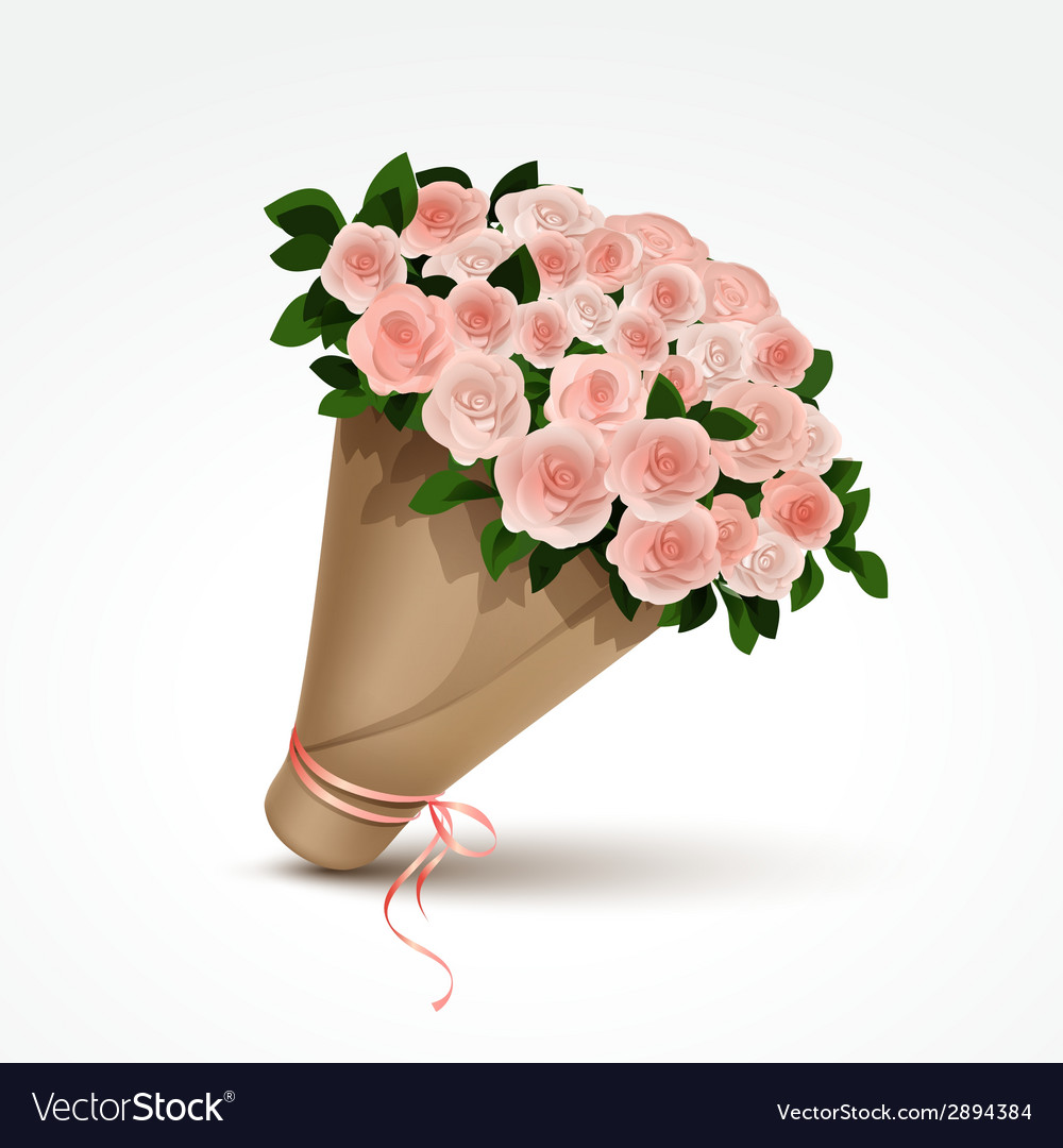 Bouquet of pink roses isolated vector | Price: 1 Credit (USD $1)