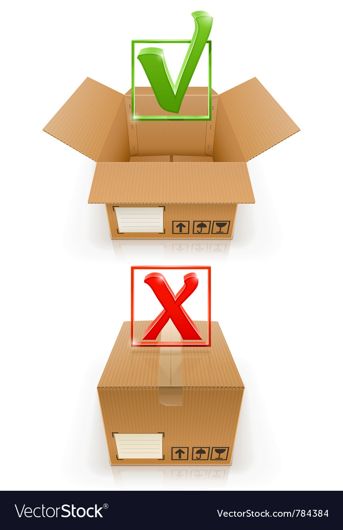 Boxes with ok and cancel mark vector | Price: 3 Credit (USD $3)
