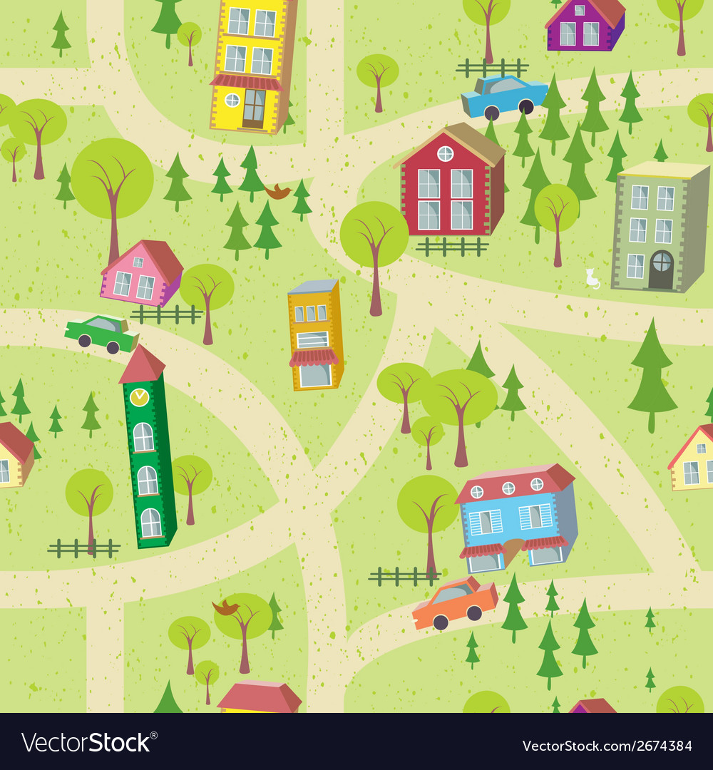 Cartoon map seamless pattern with houses and roads vector | Price: 1 Credit (USD $1)