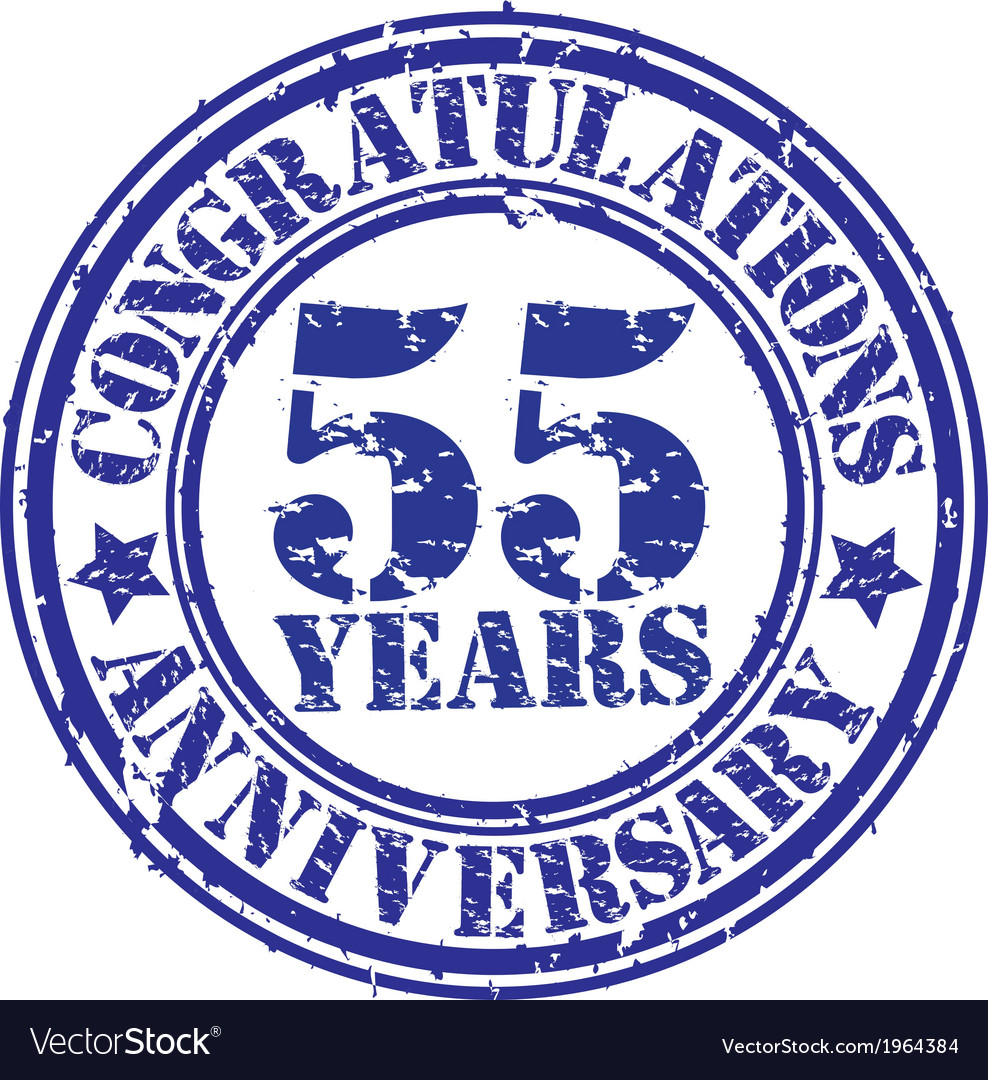 Congratulations 55 years anniversary grunge rubber vector | Price: 1 Credit (USD $1)