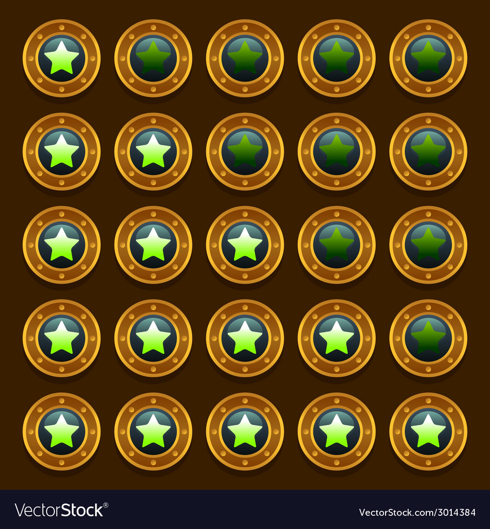Game steampunk web rating stars set vector | Price: 1 Credit (USD $1)