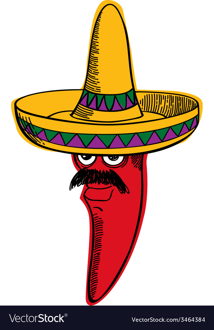 Red chili wearing a sombrero vector | Price: 1 Credit (USD $1)