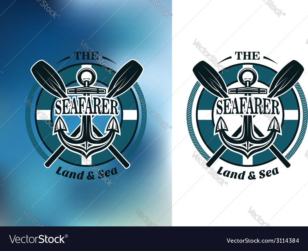 Seafarer badges with crossed oars vector | Price: 1 Credit (USD $1)