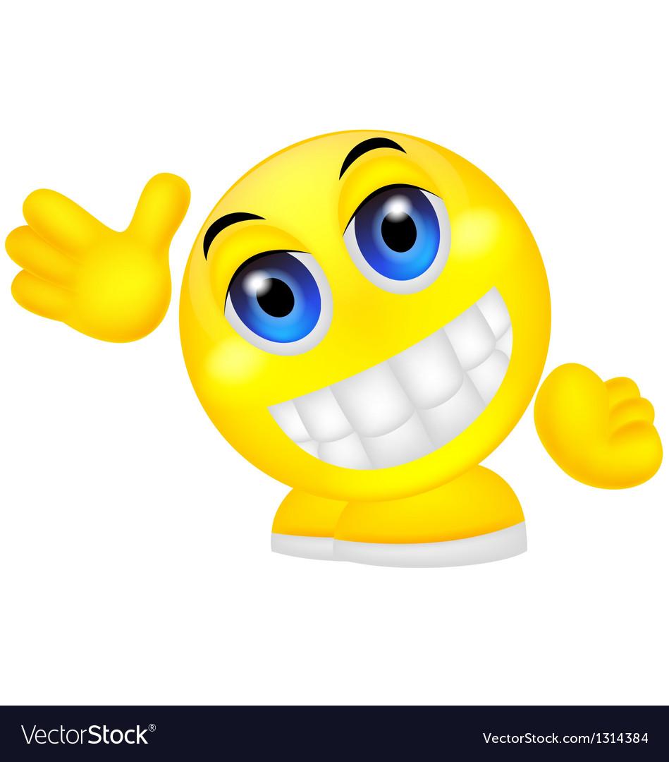 Smiley emoticon waving hand vector | Price: 1 Credit (USD $1)