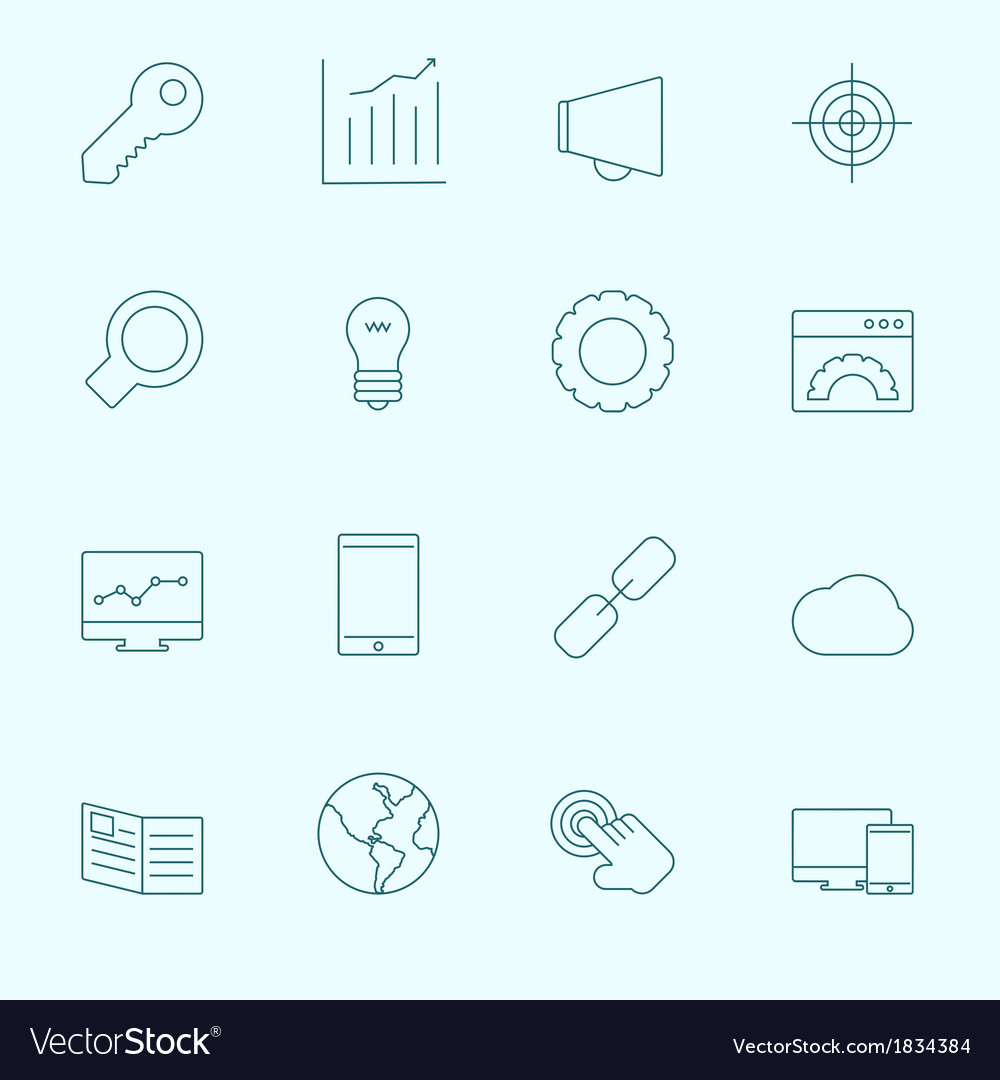 Thin seo icons vector | Price: 1 Credit (USD $1)