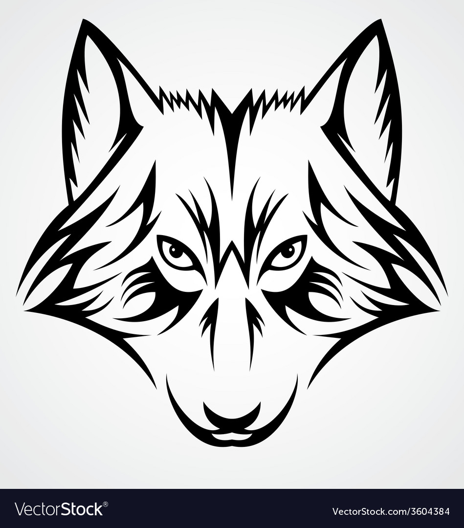 Wolf face tribal vector | Price: 1 Credit (USD $1)