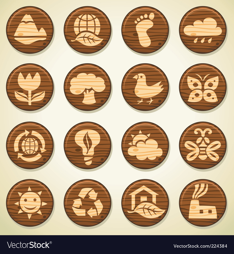 Wooden environment icons vector | Price: 1 Credit (USD $1)