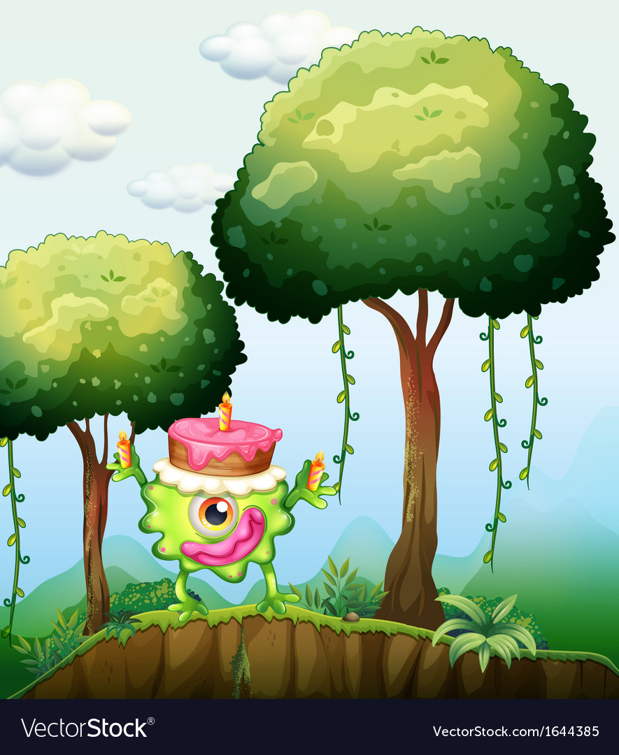 A monster carrying a cake in the forest vector | Price: 3 Credit (USD $3)