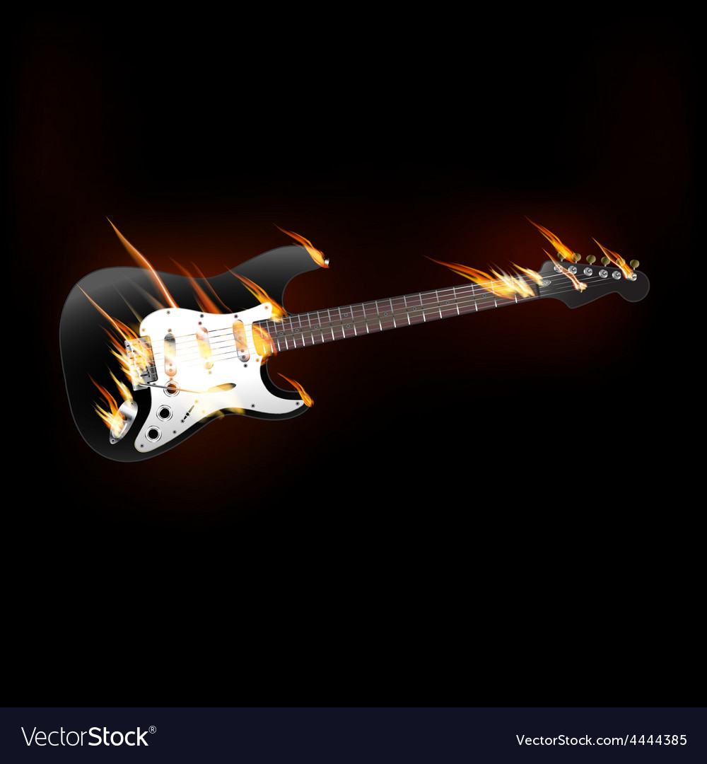 Electric guitar on fire vector | Price: 3 Credit (USD $3)
