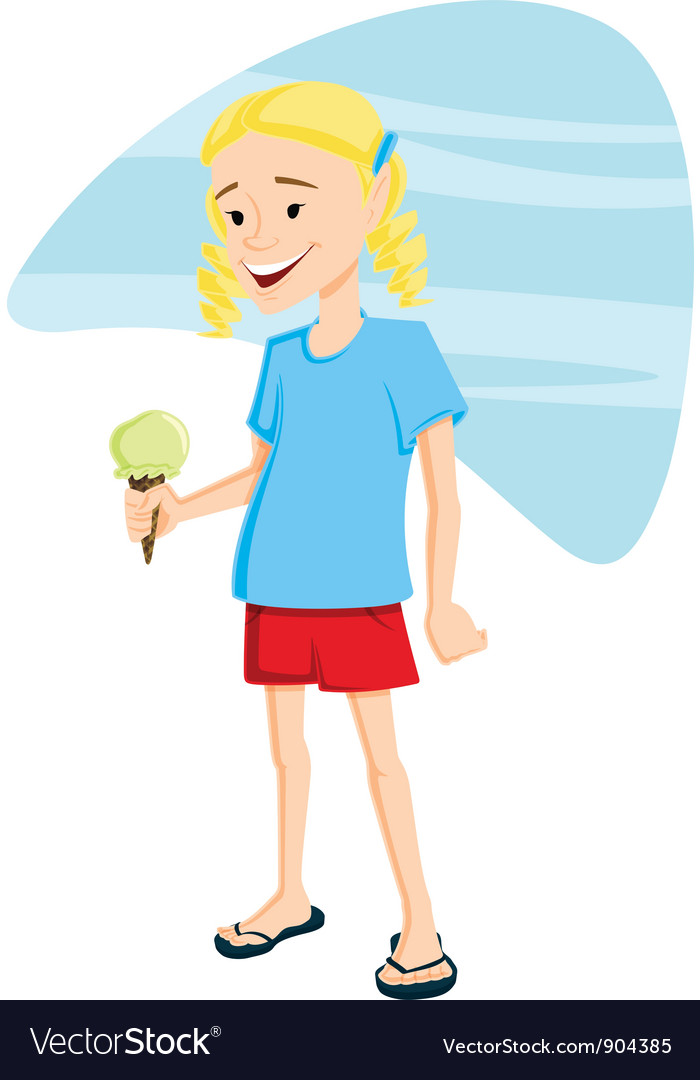Girl with ice cream vector | Price: 3 Credit (USD $3)